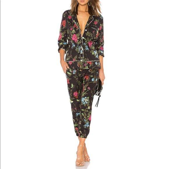 Pam & Gela Tops - Pam & Gela Black Floral Print Pajama Shirt